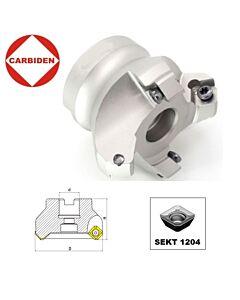 45° 50 x 22 x 47, 4T Frezavimo laikiklis iš aliuminio lydinio, SEKT1204 plokštelėms, KM12-S50X22X4T ALU