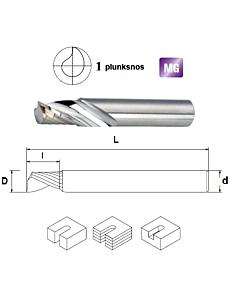 D3,175x12x3,175x38 Z-1, SFMP, Freza kietmetalinė plastiko ir aliuminio frezavimui, poliruota