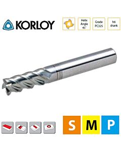 1,5mm x 6 x 4c x 50 ,Z4, H-45, Kietmetalio freza su AlTiN danga, S-Plius, titanui ir nerūdijančiam plienui frezuoti, KORLOY, SPLFE4015-050