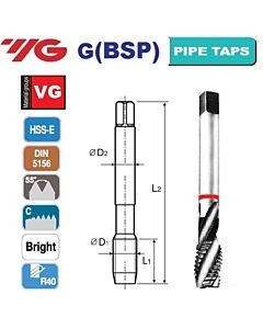G1/2 -14 sriegiklis HSS-E, DIN 5156, R40, VG, mašininis, YG