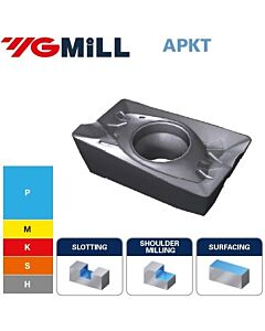 APKT100308PDTR YG602, PVD, Frezavimo plokštelė kietmetalinė su danga, plienui ir nerūdijančiam plienui frezuoti, YG